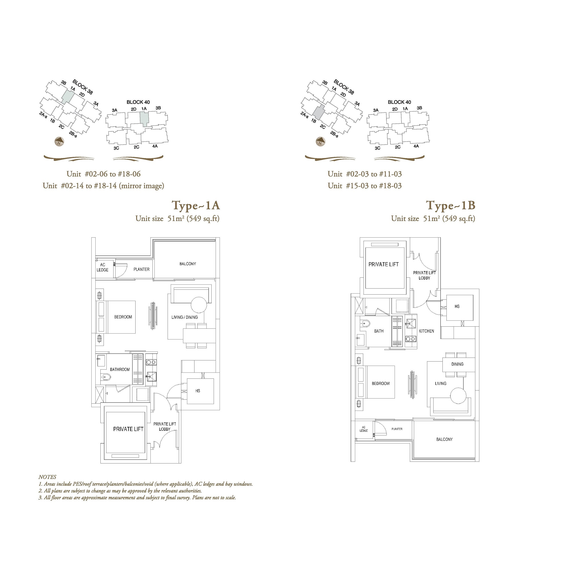 The Laurels 1 Bedroom Type 1A, 1B Floor Plans
