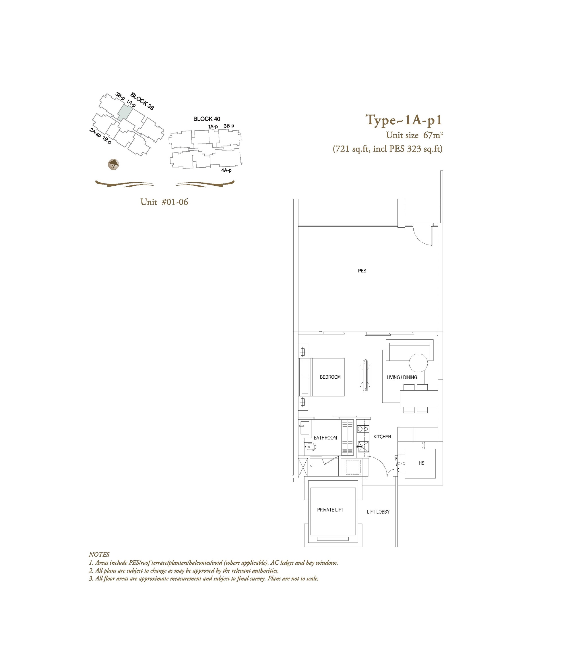 The Laurels 1 Bedroom Type 1A-P1 Floor Plans