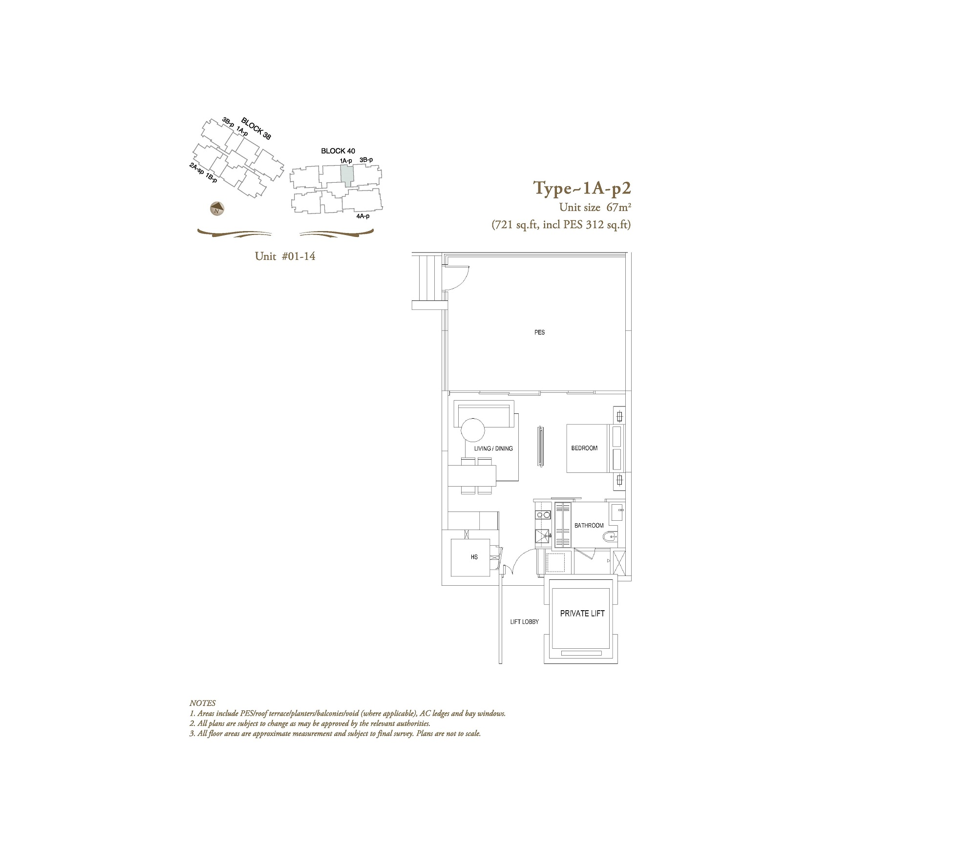 The Laurels 1 Bedroom Type 1A-P2 Floor Plans