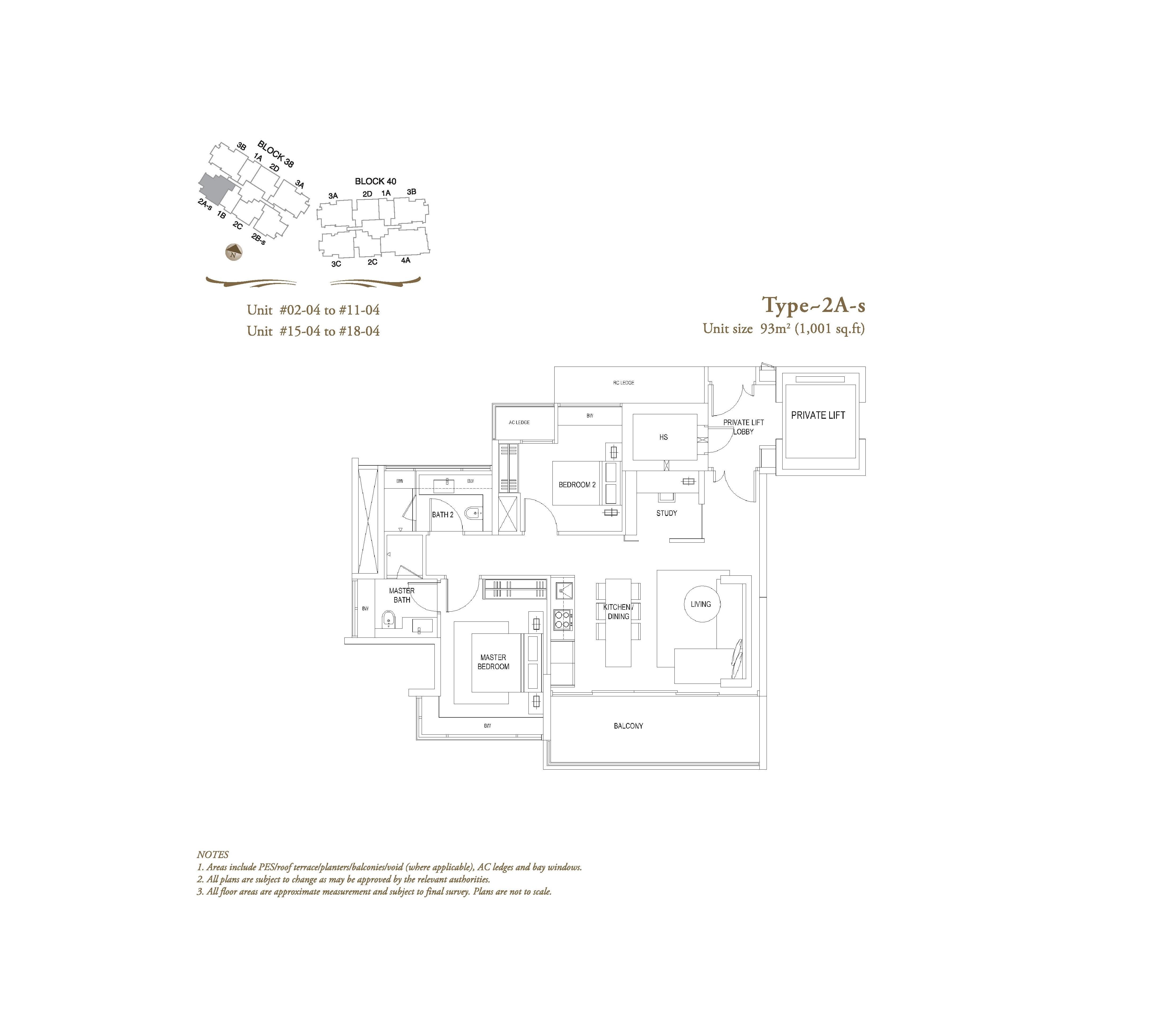 The Laurels 2 Bedroom + Study Type 2As Floor Plans