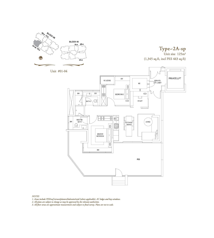 The Laurels 2 Bedroom + Study Type 2As-P Floor Plans