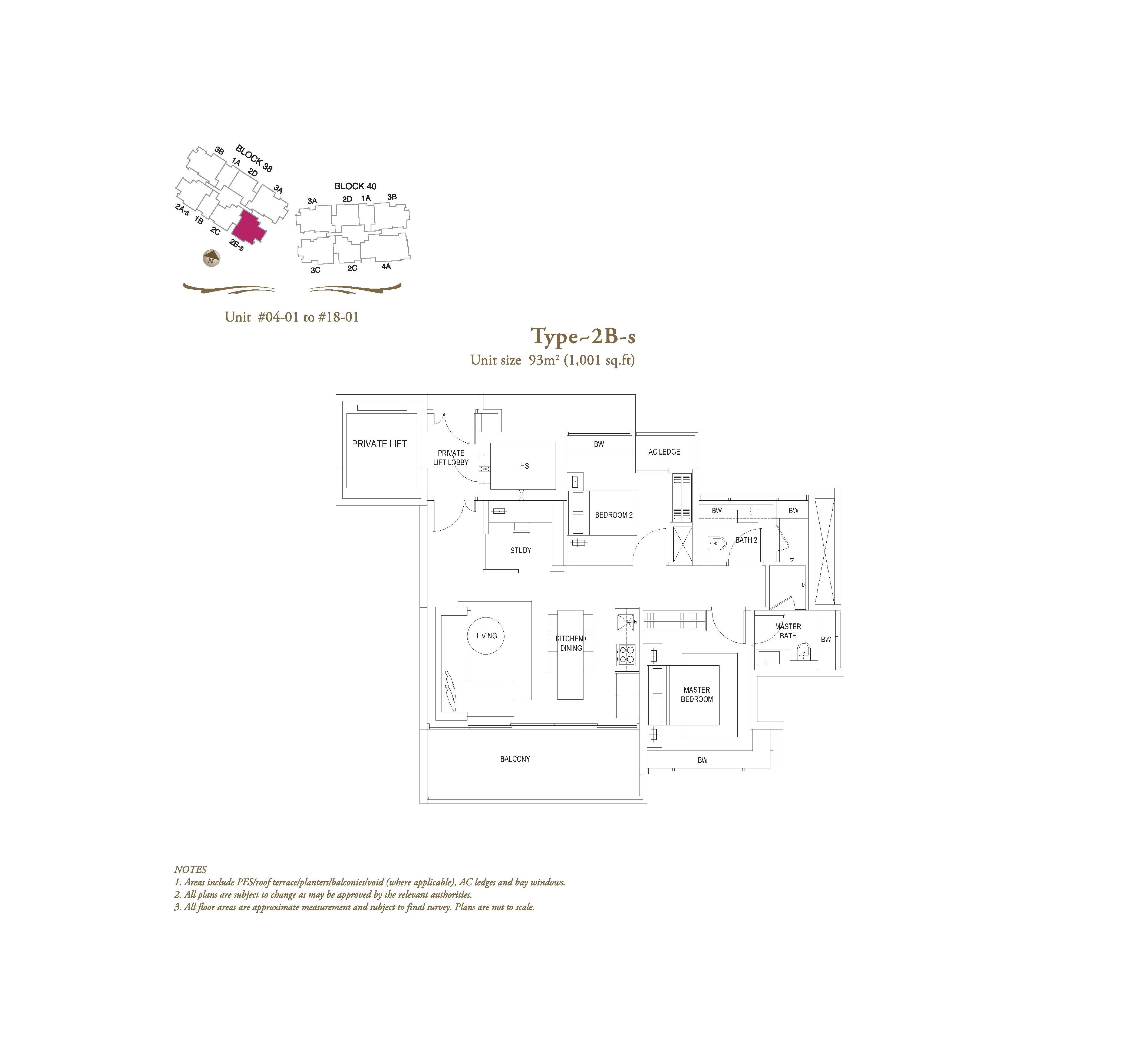 The Laurels 2 Bedroom + Study Type 2Bs Floor Plans